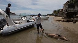 Ahli biologi, Leonardo Flach membawa kantong berisi bangkai lumba-lumba yang ditemukan mengapung di Teluk Sepetiba, 72 km dari Rio de Janeiro, Kamis (11/1). Dugaan sementara penyebab kematian para lumba-lumba itu karena bakteri atau virus. (AP/Leo Correa)