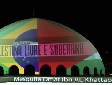 FOTO: Masjid di Brasil Berhias Bendera Palestina