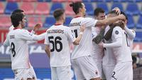 Selebrasi pemain AC Milan usai Ante Rebic berhasil menjebol gawang Bologna. (Foto: AP/LaPresse/Spada)