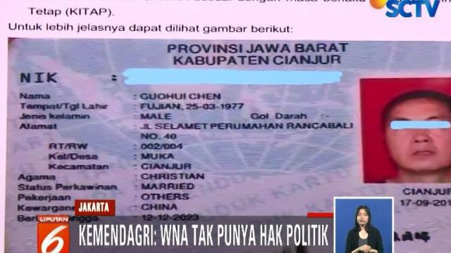 Dinas Dukcapil Cianjur Jawa Barat sudah mengkonfirmasi bahwa ada 17 WNA dari Tiongkok, Rusia, dan Filipina, yang memiliki KTP elektronik.