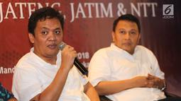 Politisi Partai Gerindra, Habiburokhman memberikan paparan pada survei elektabilitas Cagub dan Cawagub Pilkada 2018 di empat provinsi di Jabar, Jateng, Jatim dan NTT, Jumat, (22/6). (Liputan6.com/Fery Pradolo)