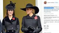 Berikut penampilan Kate Middleton dan Ratu Maxima kompak dalam balutan busana serba hitam. (Foto: instagram/quee.maxima)