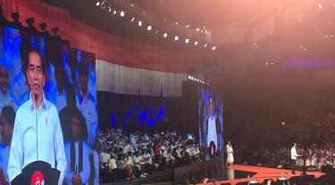 Presiden terpilih Jokowi dalam pidato di Sentul International Convention Center, Minggu (14/7/2019).