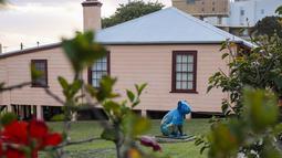 Patung koala terlihat di luar sebuah museum di Port Macquarie, New South Wales, Australia (8/10/2020). Sebuah acara bertajuk Hello Koalas Sculpture Trail 77 patung koala di berbagai lokasi dalam radius 10 km, digelar di kota pesisir tersebut untuk menarik wisatawan. (Xinhua/Bai Xuefei)