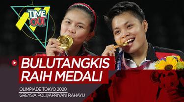 Berita video time out tentang raihan medali dari tim bulutangkis lewat Greysia/Apriyani dan Anthony Ginting di ajang Olimpiade Tokyo 2020.