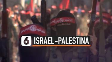 Hamas menggelar parade pasukan militer di kota Gaza usai perang belasan hari dengan Israel. Terlihat para personel berjejer sambil membawa senjata.