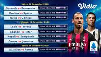 Pertandingan lengkap Liga Italia Serie A Pekan ke-11 dapat disaksikan melalui platform streaming Vidio. (Dok. Vidio)