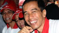 Senyum lebar Jokowi. (Liputan6.com/Helmi Fithriansyah)