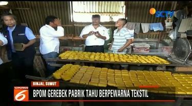 Petugas gabungan di Kota Binjai, Sumatra Utara, gerebek pabrik pembuatan tahu yang diduga menggunakan pewarna tekstil dalam proses produksinya.