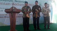 Menteri Agama, Lukman Hakim Saifuddin saat meresmikan gedung SBSN IAIN Surakarta di Klateng, Kamis (29/3).(Liputan6.com/Fajar Abrori)
