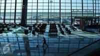 Suasana proyek Terminal 3 Ultimate Bandara Soekarno-Hatta, Tangerang, (8/6). Angkasa Pura II (Persero) berencana mengoperasikan terminal 3 ultimate Bandara Internasional Soetta pada 20 Juni 2016 alias 12 hari dari sekarang. (Liputan6.com/Angga Yuniar)