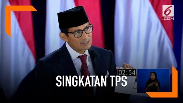 Sandiaga Uno mempopulerkan singkatan unik TPS saat penutupan debat capres.