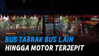 VIDEO: Bus Ugal-Ugalan di Ngawi, Tabrak Bus Lain Hingga Motor Terjepit