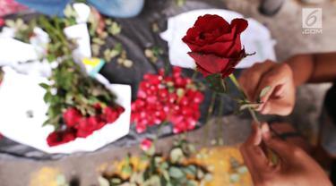 Pedagang menata bunga mawar di kawasan Rawa Belong, Jakarta Barat, Rabu (13/2). Jelang hari valentine,pedagang di pusat bunga Rawa Belong melakukan penataan bunga mawar untuk dijual kepada masyarakat yang merayakan. (Liputan6.com/Johan Tallo)