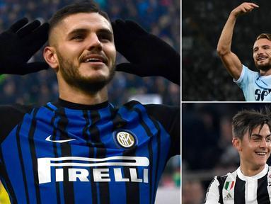 Berikut ini top scorer sementara Serie A Italia musim 2017/2018 hingga pekan ke-15. Tambahan satu gol membuat Mauro Icardi berhasil menyalip Ciro Immobile di posisi puncak. (Kolase foto-foto dari AFP)