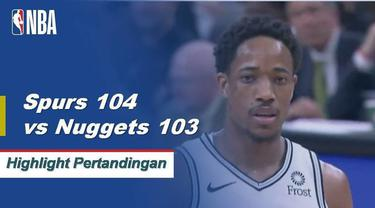DeMar DeRozan skor 24 sebagai Spurs mendapatkan kemenangan atas Nuggets 104-103.