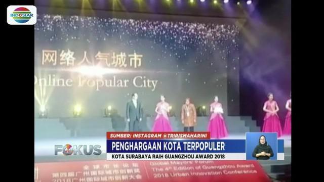 Kota Surabaya raih penghargaan kota terpopuler di ajang Guangzhou Award 2018  mengalahkan 14 kota terbaik lain di dunia.