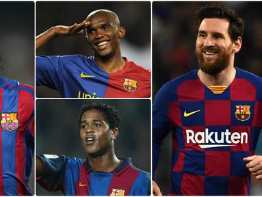 Barcelona tak pernah kekurangan talenta-talenta penyerang hebat di lapangan hijau. Seperti Lionel Messi yang selalu kerap menyuguhkan aksi-aksi hebat bersama tim berjuluk Blaugrana ini. Berikut Lionel Messi dan penyerang legendaris Barcelona. (kolase foto AFP)