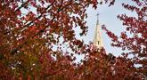 Gambar 18 Oktober 2018 menunjukkan gereja Sainte-Bernadette saat daun-daun yang berguguran jatuh di Orvault, Prancis. Musim gugur ditandai dengan perubahan warna daun serta bergugurannya daun-daun dari pohonnya. (LOIC VENANCE/AFP)