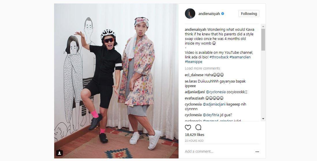Andien dan Ippe bertukar pakaian [foto: instagram.com/andienaisyah]