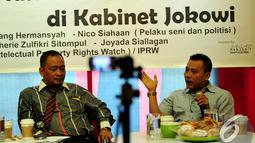 "Anggota Komisi X dari Fraksi Partai Amanat Nasional (PAN) Anang Hermansyah (kanan) saat diskusi Ngobrol Bareng Santai (Ngobras) JPI dengan tema ""Nasib Ekonomi Kreatif di Kabinet Jokowi"", Jakarta, Jumat (14/11/2014) (Liputan6/Johan Tallo)"