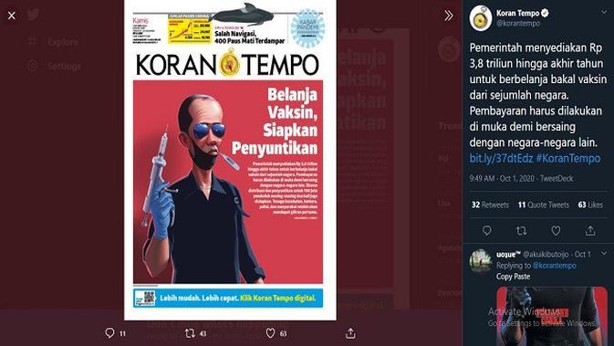 Gambar Tangkapan Layar Unggahan dari Akun Twitter @korantempo