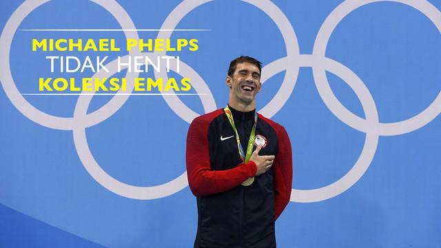 Perenang Amerika Serikat, Michael Phelps, tidak berhenti mengoleksi emas di Olimpiade Rio 2016 hingga Jumat (12/8/2016).