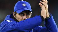 Manajer Chelsea, Antonio Conte, mulai terganggu dengan rumor soal rencana kepindahannya dari Stamford Bridge pada akhir musim 2017-2018. (AFP/Oli Scarff)