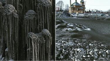 Penampakan salju hitam di Siberia