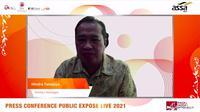 Direktur Keuangan PT Adi Sarana Armada Tbk (ASSA) Hindra Tanujaya saat paparan publik, Selasa (6/9/2021) (Dok: Liputan6.com/Pipit I.Ramadhani)