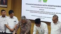 MoU Yayasan Rumah Sakit Islam Surabaya dengan Badan Penyelenggara Jaminan Produk Halal (BPJPH) Kementerian Agama. (Foto: Liputan6.com/Dian Kurniawan)