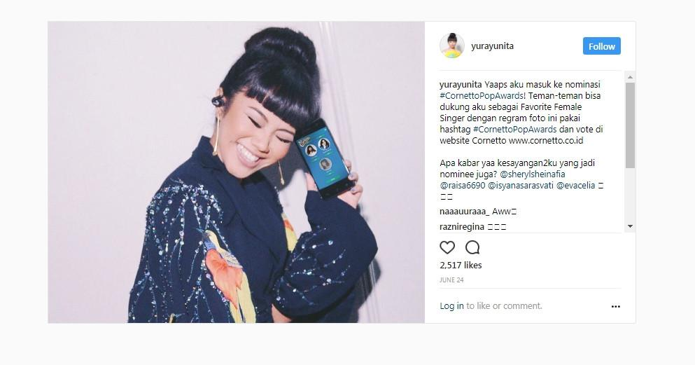 Yura Yunita antusias masuk nominasi Cornetto Pop Awards. (Instagram/yurayunita)