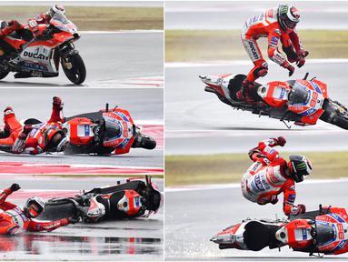 Detik-detik pebalap Ducati, Jorge Lorenzo, terjatuh pada balapan MotoGP San Marino di Sirkuit Misano, Minggu (11/9/2017). Pebalap asal Spanyol itu hanya mampu melahap tujuh lap sebelum terjatuh di tikungan keenam. (Foto-foto Kolase AFP dan AP)