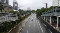 Libur Natal, Jalan MH Thamrin Jakarta lengang (Liputan6.com/ Delvira Chaerani Hutabarat)
