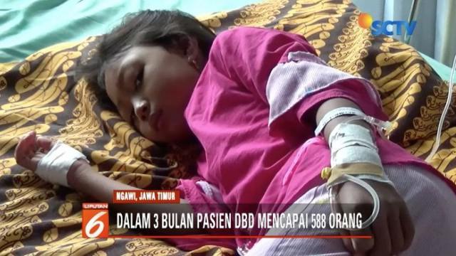 Pasien DBD semakin mewabah di Ngawi dan Cimahi. Meski ribuan kasus telah ditemukan, namun pemda setempat belum menetapkan DBD sebagai kejadian luar biasa.