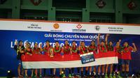 Timnas voli putra Indonesia menjuarai turnamen Piala Lien Viet Post Bank di Ha Nam Vietnam. (Humas PBVSI)