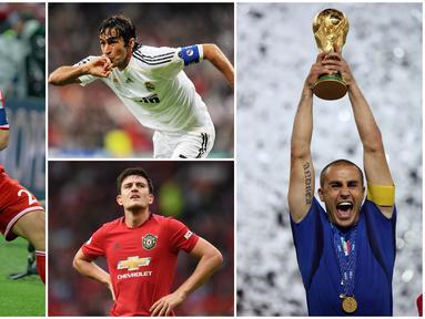 Berikut ini para pesepak bola top dunia yang pernah menjadi anak gawang. Diantaranya ada Fabio Cannavaro, Harry Maguire dan Pep Guardiola. (Foto Kolase AFP)
