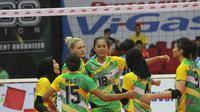 Tim putri Gresik Petrokimia diperkuat Yeliz Basa asal Turki pada kompetisi bola voli Proliga 2018. (Humas PB PBVSI)
