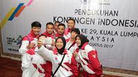 Atlet dan Official Hoki Indonesia hadir pada acara pengukuhan Kontingen Indonesia untuk SEA Games 2017 di Malaysia 19-30 Agustus 2017 di Wisma Kemenpora, Jakarta, (2/8/2017). (Bola.com/Nicklas Hanoatubun)