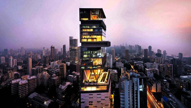Penampakan kediaman Mukesh dan Nita Ambani yang berlantai 27 tingkat di Mumbai, India (Strongest in World)