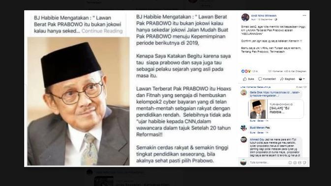Cek Fakta - Screen capture akun Facebook yang menyebut soal Habibie dan Prabowo.