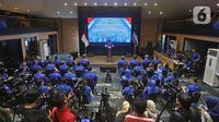 Ketum Partai Demokrat Agus Harimurti Yudhoyono atau AHY saat rapat pimpinan secara maraton di Gedung DPP Demokrat, Jakarta Pusat, Minggu (7/3/2021). AHY mengatakan, setelah rapat ia akan melakukan commander's call atau rapat dengan jajaran DPD di 34 provinsi. (Liputan6.com/Herman Zakharia)