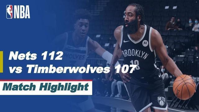 Berita video highlights laga musim reguler NBA 2020/2021 antara Brooklyn Nets melawan Minnesota Timberwolves yang berakhir dengan skor 112-107, di mana James Harden mencetak triple-double, Selasa (30/3/2021) pagi hari WIB.