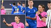 Ada pemandangan tak biasa tersaji saat pertandingan Juventus kontra Dynamo Kiev pada laga Liga Champions, Kamis (3/12/2020). Stephanie Frappart menjadi wasit wanita pertama yang memimpin laga Liga Champions pria.