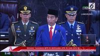 Presiden Jokowi saat pidato Presiden Republik Indonesia di depan Sidang Tahunan MPR RI 2018 di Gedung DPR/MPR, Jakarta.