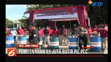 Barang bukti ini merupakan hasil penggerebekan pabrik pil PCC di Solo dan Semarang, pada 3 Desember 2017.