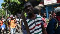 Demonstran menuntut lengsernya Presiden Haiti Jovenel Moïse.(AFP/Chandan Khann)
