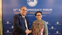 Menteri Urusan Pasifik Selandia Baru Aupito William Sio dan Menlu RI Retno Marsudi. (Dok:Antara)