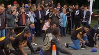 Geng motor di Selandia Baru melakukan tari Haka untuk menghormati korban penembakan di masjid Al Noor di Christchurch (Dok.Instagram/@buzzfeedworld/https://www.instagram.com/p/BvIQDJvjrgd/Komarudin)