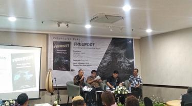 eluncuran buku 'Freeport: Bisnis Orang Kuat Vs Kedaulatan Negara' di Hotel Atlet Century, Jakarta, Senin (28/1/2019). Dok Merdeka.com/Wilfridus Setu Umbu